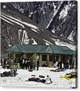 Tourists Surrounded By Snow And Ice Outside One Of The Few Buildings Acrylic Print