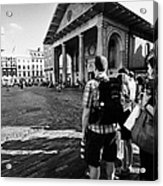 tourists watching street performers in covent garden London England UK Acrylic Print