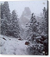Towards Top Of Bear Peak Mountain During Intense Snow Storm - North Side Acrylic Print