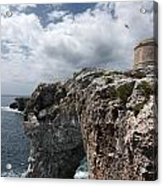 Stunning Tower Over The Cliffs Of Alcafar In Minorca Island - Tower And Sea Acrylic Print