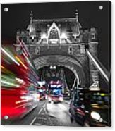 Tower Bridge And Traffic Color Mix Acrylic Print