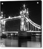 Tower Bridge By Night - Black And White Acrylic Print by Melanie Viola