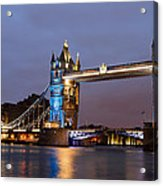 Tower Bridge Illuminated For Je Suis Charlie Acrylic Print by Ivelin Donchev