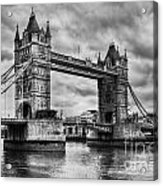 Tower Bridge In London Uk Black And White Acrylic Print