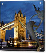 Tower Bridge The Dolphin And The Girl Acrylic Print