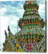 Tower Closeup Of Buddhist Temple At Grand Palace Of Thailand  Acrylic Print