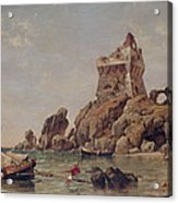 Tower Of Erchia, Gulf Of Salerno, 1849 Oil On Canvas Acrylic Print