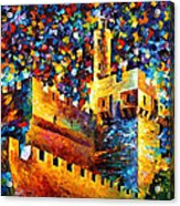 Tower - Palette Knife Oil Painting On Canvas By Leonid Afremov Acrylic Print