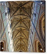 Towering Art - The Painted Ceiling Above The Nave Of Uppsala Cathedral - Sweden Acrylic Print