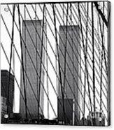 Towers From The Brooklyn Bridge 1990s Acrylic Print by John Rizzuto