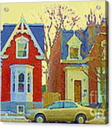 Town Houses In Winter Suburban Side Street South West Montreal City Scene Pointe St Charles Cspandau Acrylic Print