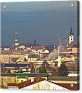 Town Of Bjelovar Winter Skyline Acrylic Print