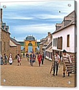 Townsfolk On Street To The Sea In Louisbourg Living History Museum-174 Acrylic Print