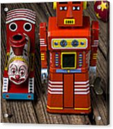 Toy Robot And Train Acrylic Print