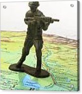 Toy Solider On Iraq Map Acrylic Print by Amy Cicconi