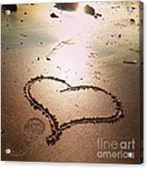 Tracks Of Love In The Sand Acrylic Print