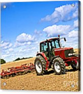 Tractor In Plowed Farm Field Acrylic Print by Elena Elisseeva