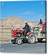 Tractor Towing A Wagon Along The Road To Shigatse-tibet Acrylic Print