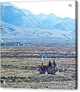 Tractor Used In Farming Along The Road To Shigatse-tibet Acrylic Print