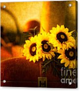 Tractors And Sunflowers Acrylic Print