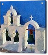 Traditional Belfry In Oia Town Acrylic Print