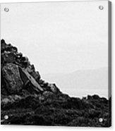 Traditional Irish Stone Cairn Basalt Stones On Rathlin Island Looking Towards Fair Head Antrim  Acrylic Print