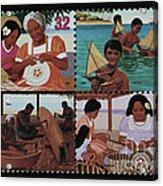 Traditional Pacific Handicrafts Postage Stamp Print Acrylic Print