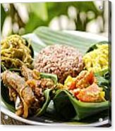 Traditional Vegetarian Curry With Rice In Bali Indonesia Acrylic Print