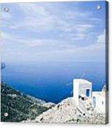 Traditional Windmill On Karpathos Island - Greece Acrylic Print
