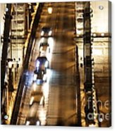 Traffic- Chain Bridge Budapest At Night Acrylic Print