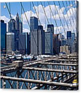 Traffic On A Bridge, Brooklyn Bridge Acrylic Print