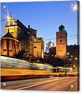 Traffic On The Solidarity Avenue In Warsaw Acrylic Print