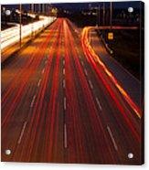 Traffic Trails At Twilight Acrylic Print