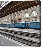 Train At Station Platform Budapest Hungary Acrylic Print