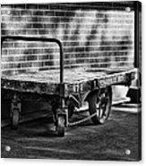 Train Depot Baggage Cart In B/w Acrylic Print