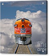 Train In Clouds Acrylic Print