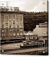 Train Passes Station Square Pittsburgh Antique Look Acrylic Print