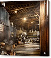 Train - Ready In The Roundhouse Acrylic Print by Mike Savad