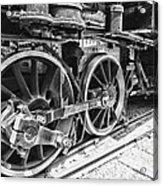 Train - Steam Engine Wheels - Black And White Acrylic Print