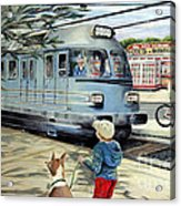 Train Stop At The Diner Acrylic Print by Chris Dreher