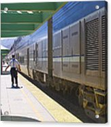 Train Stopped At Station Acrylic Print