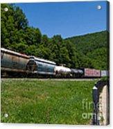 Train Watching At The Horseshoe Curve Altoona Pennsylvania Acrylic Print