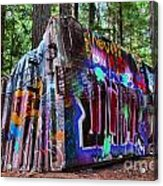 Train Wreck Art In The Forest Acrylic Print