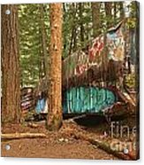 Train Wreck Canvas Among The Trees Acrylic Print
