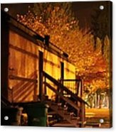 Train Yard At Night Acrylic Print by Donald Torgerson