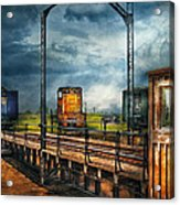 Train - Yard - On The Turntable Acrylic Print by Mike Savad