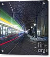 Tram At Night In Zurich Bahnhofstrasse Acrylic Print