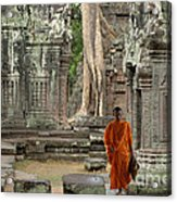 Tranquility In Angkor Wat Cambodia Acrylic Print by Bob Christopher