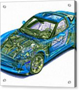 Transparent Car Concept Made In 3d Graphics 11 Acrylic Print