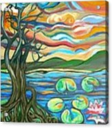 Tree And Lilies At Sunrise Acrylic Print by Genevieve Esson